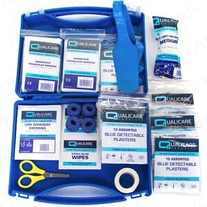 HIGH QUALITY CATERING FIRST AID KIT PLUS Kitchen Safety Protection Blue Plasters