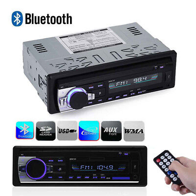 12V Fm Car Stereo Radio Bluetooth 1 Din In Dash Handsfree Sd Usb Aux Head Unit