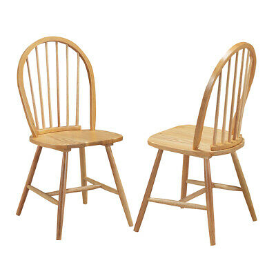 Set of 2 Windsor Chairs Wood Armless Dining Room Spindle Bac