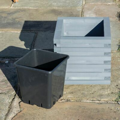 ROWLINSON SORRENTO PLANTER SQUARE PAINTED GREY TIMBER WOOD PLANT POT PATIO LINER