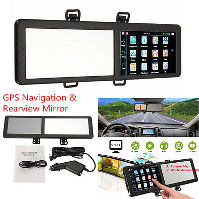 5 Touch Screen Bluetooth Car Gps Navigation Sat Nav Mp3 Mp4 Fm Rearview Mirror