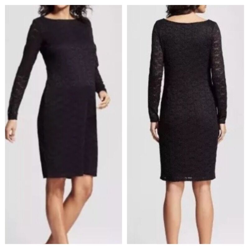 Ingrid And Isabel NEW Lace Black Boat Neck Fitted Maternity Dress Large NWT