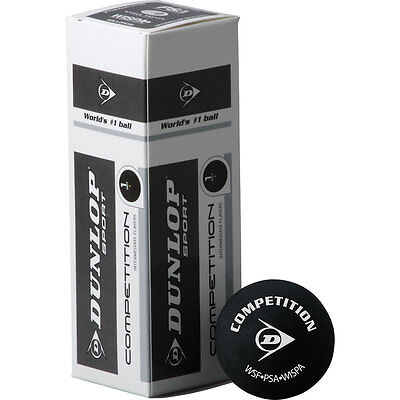 3 Dunlop Competition Yellow Dot Squash Balls RRP £11.99