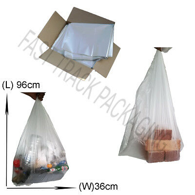 100 x Clear Refuse Sacks Bags for Rubbish Scrap / Waste Recycling 18