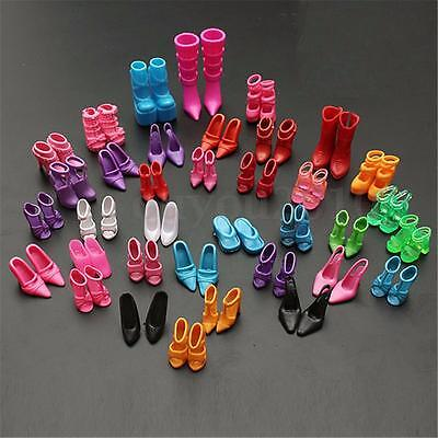 120pcs Mixed Different High Heel Shoes Boots for Barbie Doll Dresses Clothes