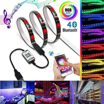 5V USB LED Strip Light RGB 5050 TV Backlight COLOUR CHANGING Bluetooth APP Music