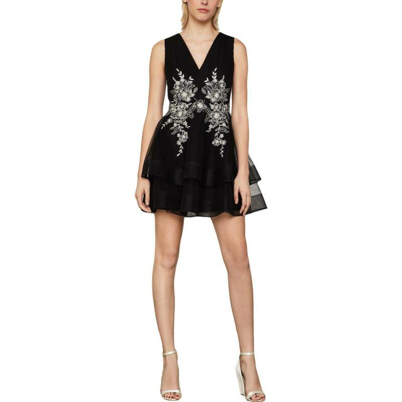 BCBGMAXAZRIA Womens Embroidered Tulle Mini Cocktail Dress BHFO 0893