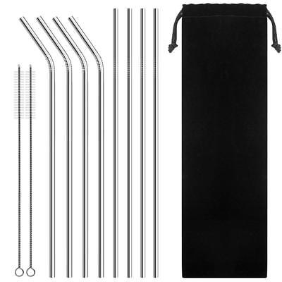 Stainless Steel Reusable Metal Drinking Straws with Cleaning Brush for Tumbler