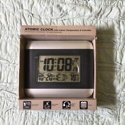 atomic clock with indoor temperature and calendar new in box alarm radio control