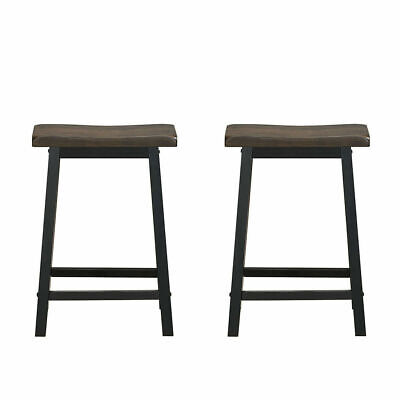 """Set of 2 24"""" Bar Stools Saddle Seat Pub Chair for Kitchen Di"""