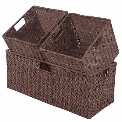 3PCS Rattan Storage Baskets Nest Nesting Cube Bin Box Organizer Home Room Office - Storage Cube Baskets