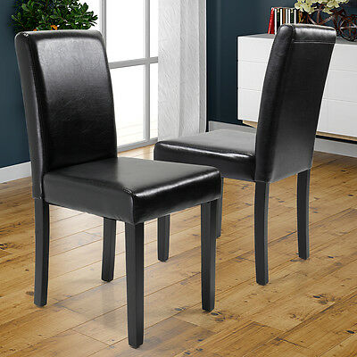 2 Black Dining Chairs - Set of 2 Elegant Modern Design Dining Chairs Home Room  Black  Leather Chair