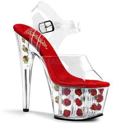 PLEASER Sexy Dancer Stripper Red Rose Platform 7