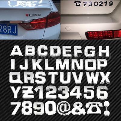 40pcs DIY 3D Chrome Car Emblem Sticker Alphabet Letter Number Symbol Badge Decal - Number Symbol