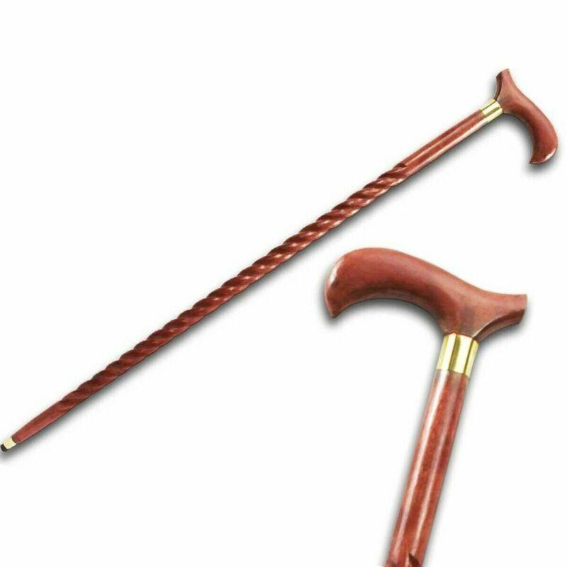 "36.5"" EUCALYPTUS Wooden Walking Stick Cane DERBY Style Handle SE 7066"