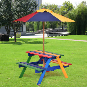 Kids Children Garden Picnic Table Bench W/ Umbrella Wooden Rainbow Parasol Set