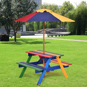 kids children garden picnic table bench w umbrella wooden rainbow parasol set