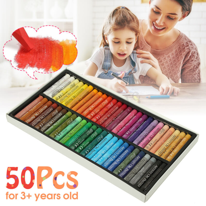 Pack of 50 Vivid Colors Oil Pastels Inscribe Gallery Drawing Assorted US