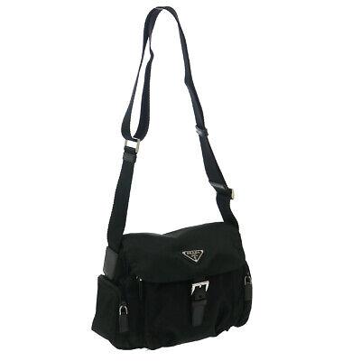 PRADA Cross Body Shoulder Bag #170 Black Nylon Leather Italy Vintage 33338