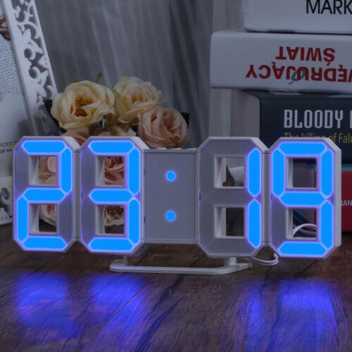 Blue LED Digit 3D Display Wall Clock with 3 levels Brightness Alarm Snooze Clock