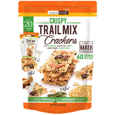 3 x Tropical Fields Crispy Baked Trail Mix Crackers 232g  (60 Individual Packs)
