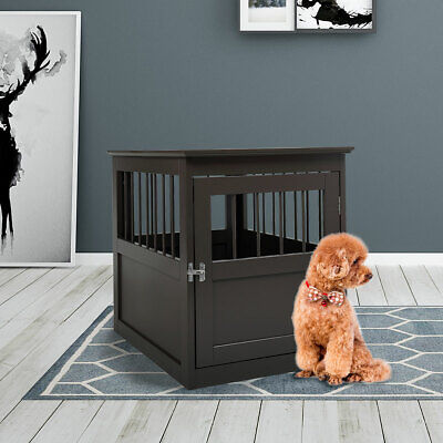 """Dog Wooden Crate Kennel Cage Bed Night Stand End Table Wood Furniture 27.5"""" H"""