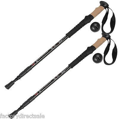 New Set of two 2 Trekking Walking Hiking Sticks Poles Alpenstock Adjustable Anti-Shock