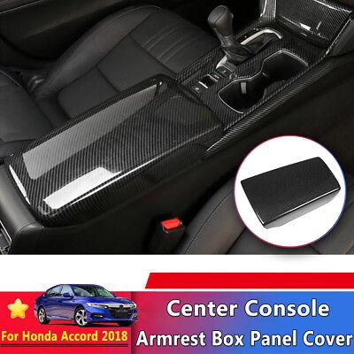 (Carbon Fiber Center Console Armrest Box Panel Cover Trim For Honda Accord 2018)