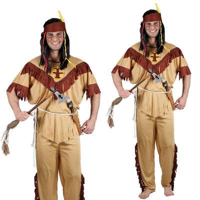 Erwachsene Indian Tapferen Kostüm Wilder Westen Native Rot Herren Outfit