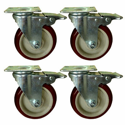 4x Heavy Duty 5 Inch Swivel Bearing Caster Wheel With Brake Polyurethane 1320lb