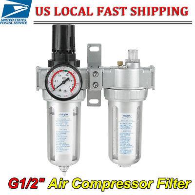 G12 Air Compressor Filter Oil Water Separator Trap Tool Regulator Gauge Us