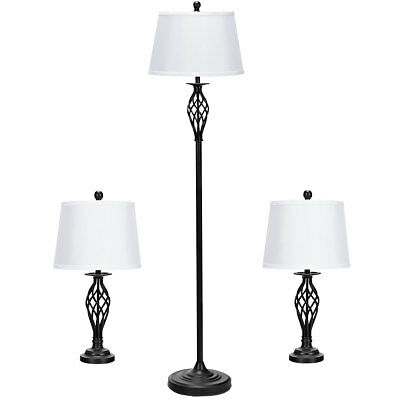 3-Piece Lamp Set 2 Provisions Lamps 1 Floor Lamp Fabric Shades Living Room Bedroom