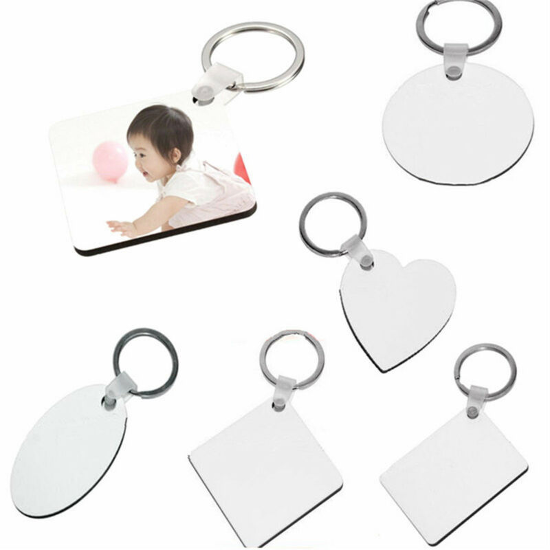 10x DIY White Blank Board Sublimation Printing Keyrings For Heat Press Machine