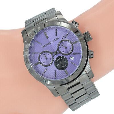 Michael Kors Damen Uhr XXL MK5954 Runway Grau Edelstahl Violett Armband