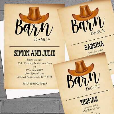 12 x Personalised Adult Birthday Party Invitations Cowboy Barn Dance  H1798](Barn Dance Invitations)