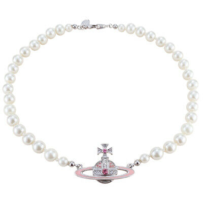 Vivienne Westwood Pink Saturn Pearl Necklace With packing