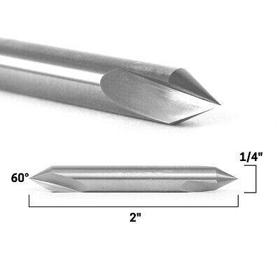 60 Degree Double End V Groove Solid Carbide Router Bit 14 Shank Yonico 14107q