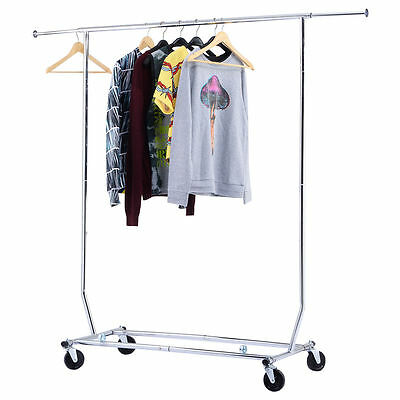 250LBS Heavy Duty Commercial Clothing Garment Rolling Collapsible Rack Chrome
