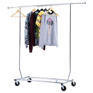 250lbs heavy duty commercial clothing garment rolling collapsible rack chrome - Clothes Racks