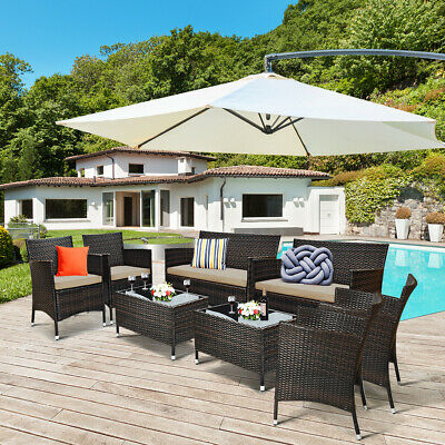 Garden Furniture - 8 Pieces Rattan Patio Furniture Set Cushioned Sofa Chair Coffee Table for Garden