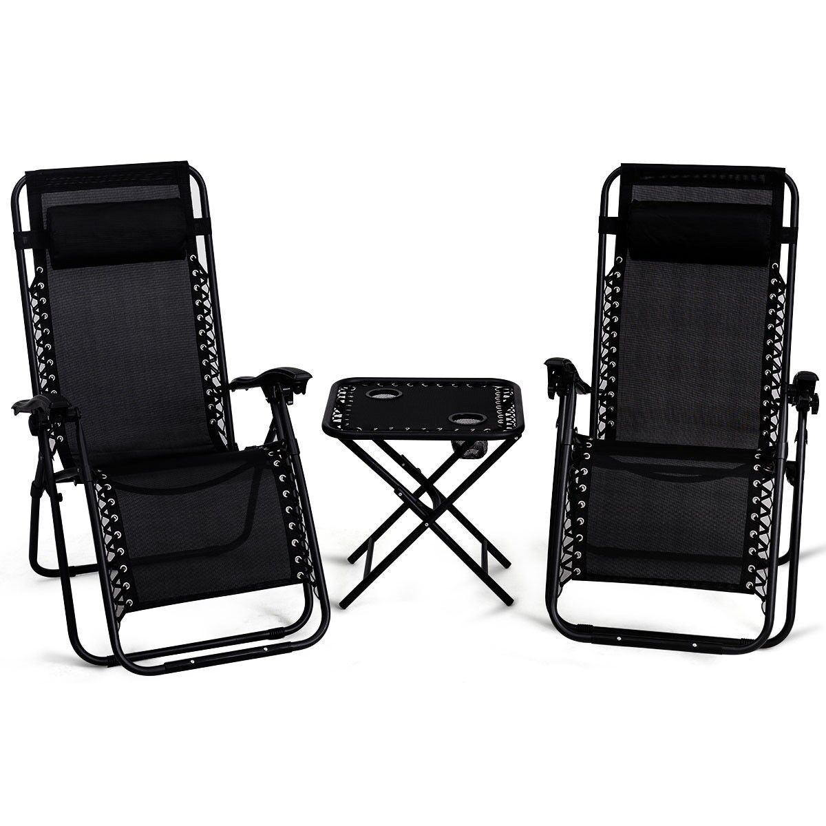 Details About Chaise Lounge Set Of 3 Cushion Patio Chairs Table Recliner Folding Zero Gravity
