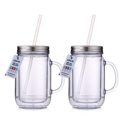 Mason Jar Lid With Straw (Cupture 2 Vintage Clear Mason Jar Tumbler Mug With Stainless Steel Lid and)