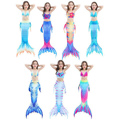 3PCS Girls' Swimsuit Mermaid Tail for Swimming Princess Bikini Set Swimsuit (Mermaid Swimsuit For Adults)