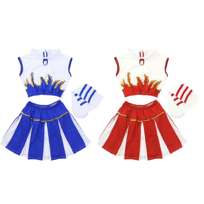 Girls Cheerleader Costume School Girls Cosplay Party Carnival Fancy Dress Up Set