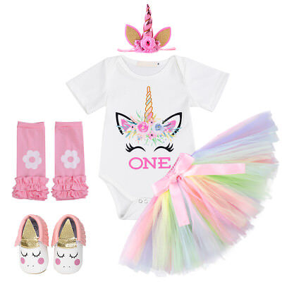Infant Baby Girl Unicorn 1st Birthday Outfit Bodysuit Skirt Shoes Headband 5pcs