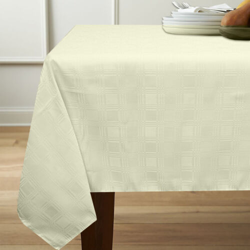 Members Only Merida Tablecloth Liquid & Stain Resistant Fabric 60″ x 102″ Ivory Home & Garden