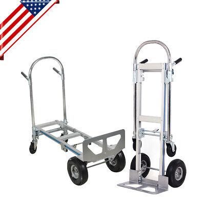 Multi-use 2in1 Aluminum Hand Truck 51inch Fold 2wheel Dolly 4wheel Cart 770lbs