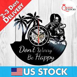 Bob Marley Dont Worry be Happy Vinyl Record Wall Clock LP Art Decor Best Gifts ✅