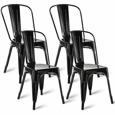 Set of 4 Tolix Style Dining Side Chair Stackable Bistro Cafe Metal Stool Vintage Bistro Style Dining Chair