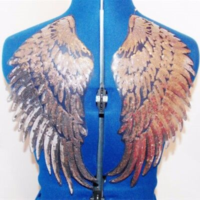 2pcs Golden Sequin Beaded Angel Wings Iron on Applique Patch Mirror Embroidery ! ()
